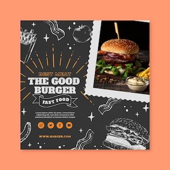 Modelo de panfleto quadrado de comida americana deliciosa
