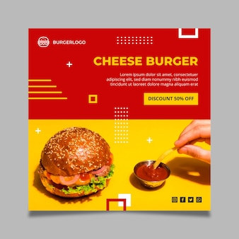 Modelo de panfleto quadrado de comida americana