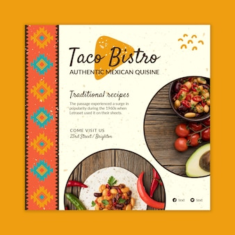 Modelo de panfleto quadrado de comida mexicana deliciosa