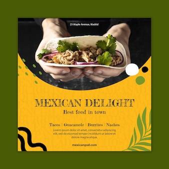 Modelo de panfleto quadrado de comida mexicana saborosa