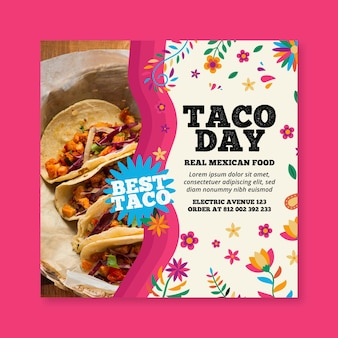 Modelo de panfleto quadrado de comida mexicana Vetor grátis