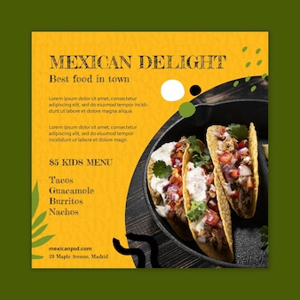 Modelo de panfleto quadrado de comida mexicana