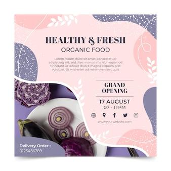 Modelo de panfleto quadrado de comida saudável