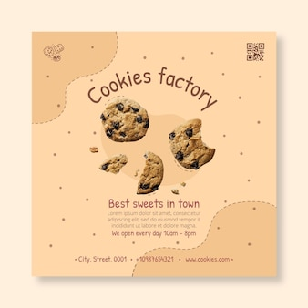 Modelo de panfleto quadrado de cookies deliciosos