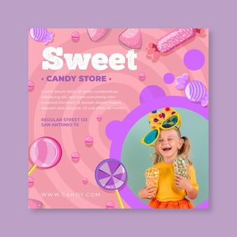 Modelo de panfleto quadrado de doces com criança