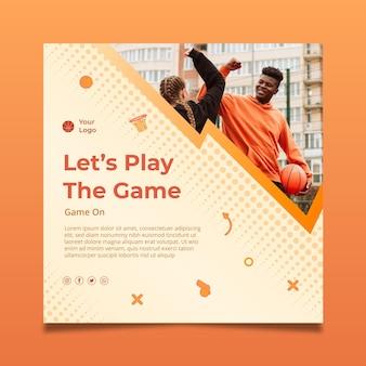 Modelo de panfleto quadrado de esporte gradiente