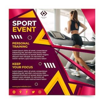 Modelo de panfleto quadrado de esportes