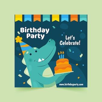 Modelo de panfleto quadrado de feliz aniversário com dinossauro