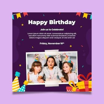 Modelo de panfleto quadrado de festa de aniversário