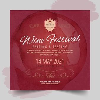 Modelo de panfleto quadrado de festival de vinho
