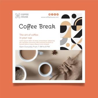 Modelo de panfleto quadrado de intervalo para café