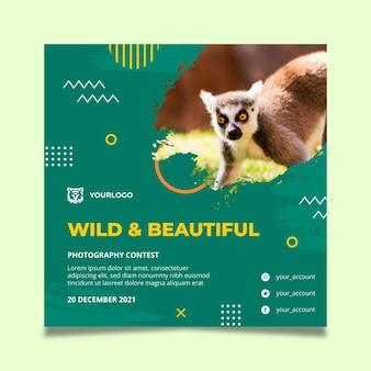 Modelo de panfleto quadrado de natureza selvagem