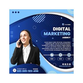 Modelo de panfleto quadrado de negócios de marketing Vetor Premium