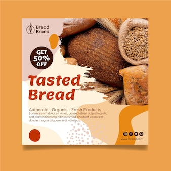 Modelo de panfleto quadrado de pão saboreado