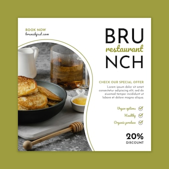 Modelo de panfleto quadrado de restaurante de brunch