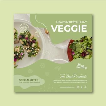 Modelo de panfleto quadrado de restaurante saudável