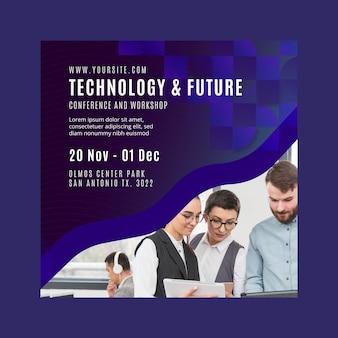 Modelo de panfleto quadrado de tecnologia e negócios futuros