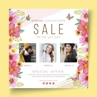 Modelo de panfleto quadrado de venda de primavera em aquarela