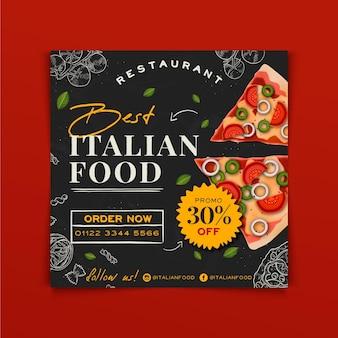 Modelo de panfleto quadrado desenhado à mão com comida italiana Vetor Premium