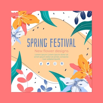 Modelo de panfleto quadrado festival da primavera