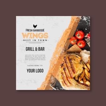 Modelo de panfleto quadrado para churrasco com carne e vegetais