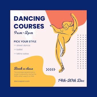 Modelo de panfleto quadrado para cursos de dança