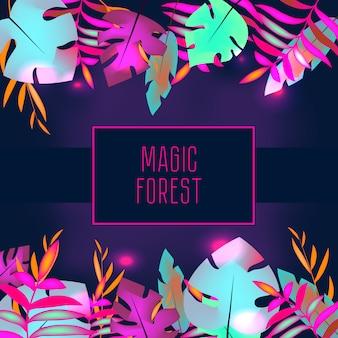 Modelo de panfleto tropical. folhas de selva tropical de néon e quadro
