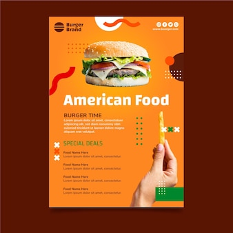 Modelo de panfleto vertical de comida americana com hambúrguer