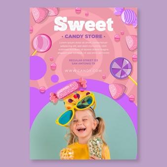Modelo de panfleto vertical de doces com criança