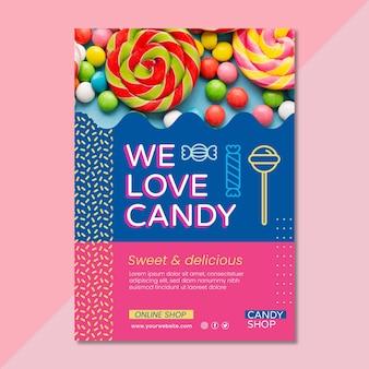 Modelo de panfleto vertical de doces deliciosos