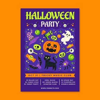 Modelo de panfleto vertical de festa plana de halloween desenhado à mão