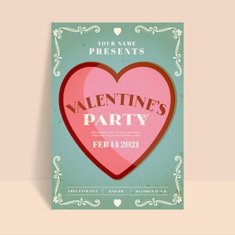 Modelo de panfleto vintage para festa de dia dos namorados