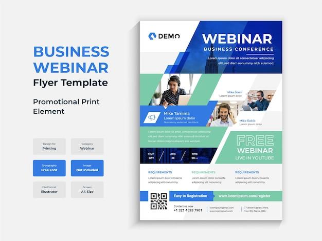 Modelo de panfletos coloridos para webinar para conferências de negócios