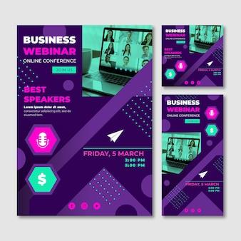 Modelo de panfletos de webinar criativos