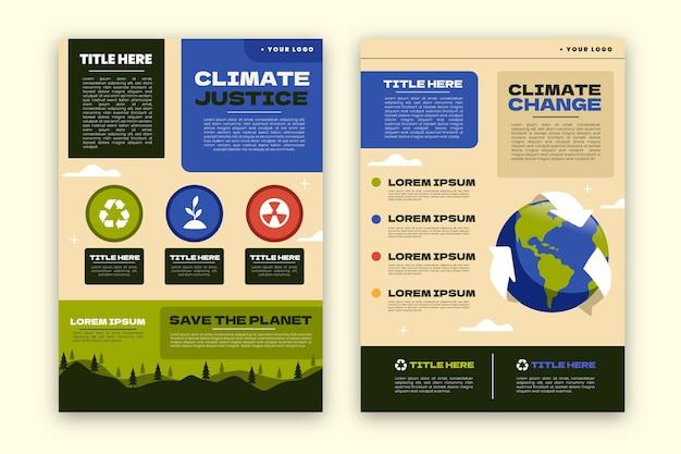 Modelo de panfletos sobre mudança climática desenhado à mão
