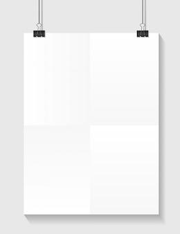 Modelo de papel branco com lugar para o seu clipe de texto