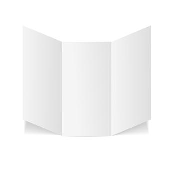 Modelo de papel branco de folheto dobrado em branco com três dobras.