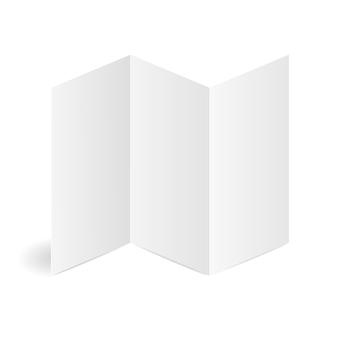 Modelo de papel branco de folheto dobrado em branco