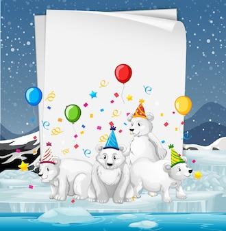Modelo de papel com animais fofos em tema de festa