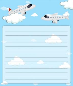 Modelo de papel com dois aviões voando