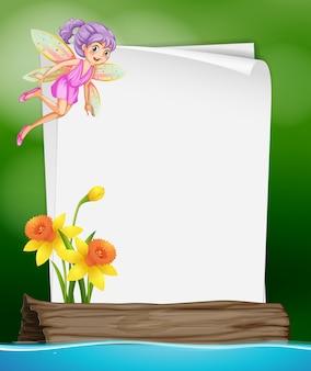 Modelo de papel com fada e flor