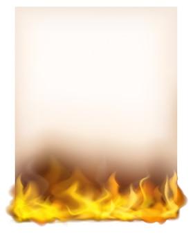 Modelo de papel com fogo na parte inferior