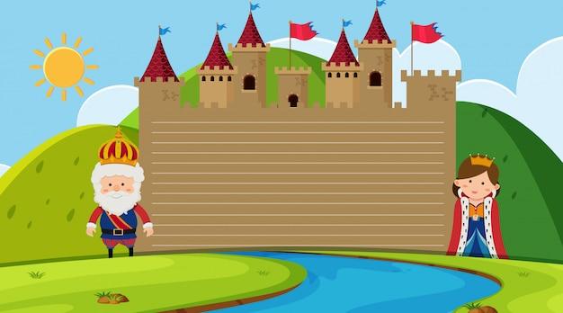 Modelo de papel com rei e rainha no castelo