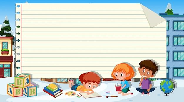 Modelo de papel com três crianças lendo livros