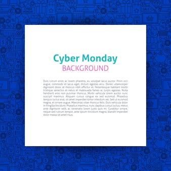 Modelo de papel da cyber monday. ilustração em vetor de venda outline design.