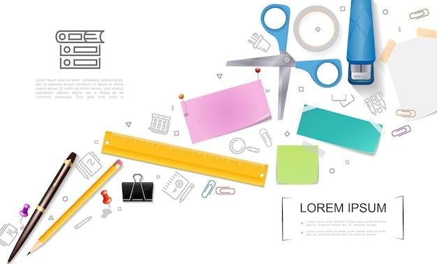 Modelo de papel de carta realista com tesoura cheia de grampeador caneta lápis régua tachinhas nota adesivos clipe de pasta e ilustração de ícones estacionários,