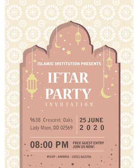 Modelo de papel de convite iftar ramadhan