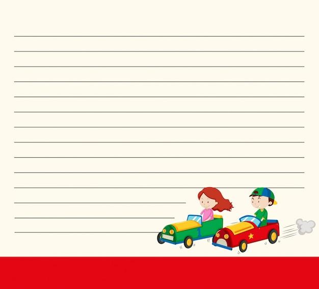 Modelo de papel de linha com crianças em carros de corrida
