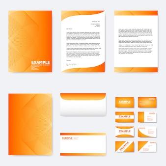 Modelo de papel de negócios com linha curva abstrata na laranja
