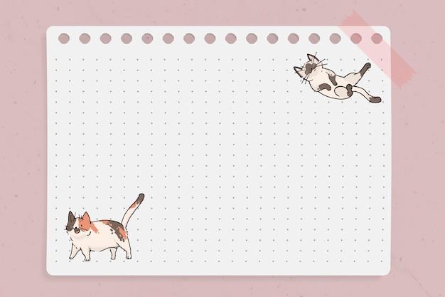 Modelo de papel de nota pontilhada com padrão de amante de gato